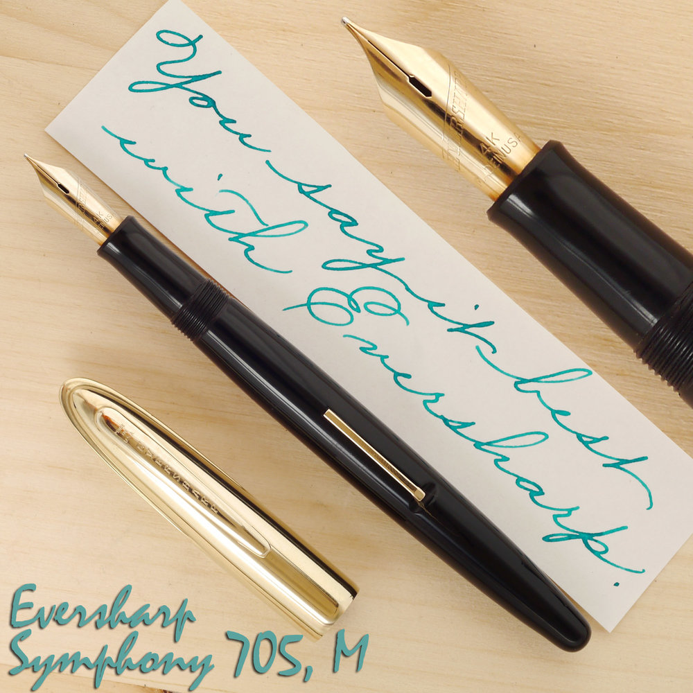 Eversharp Symphony 705, M, with the cap off showing the large 14k gold nib
