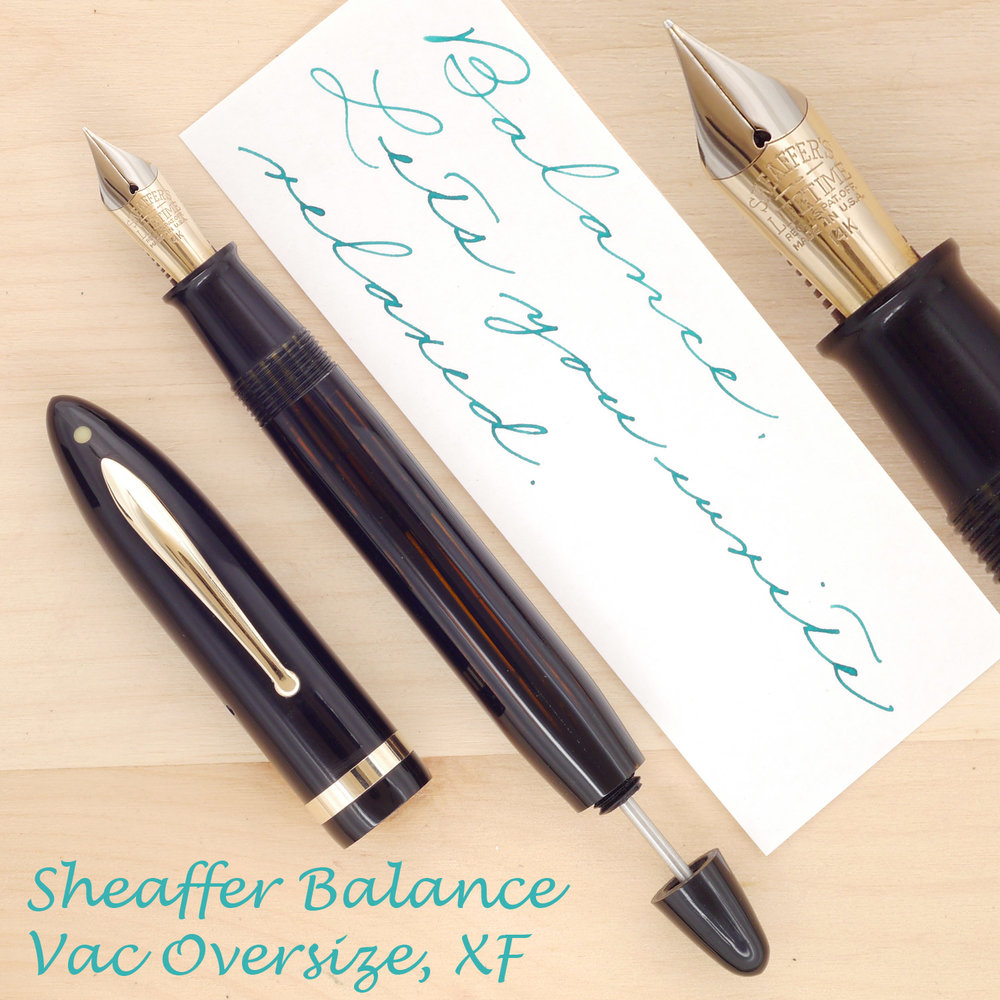 Sheaffer Balance Vac-filler Oversize, XF, with the cap off and plunger partially extended