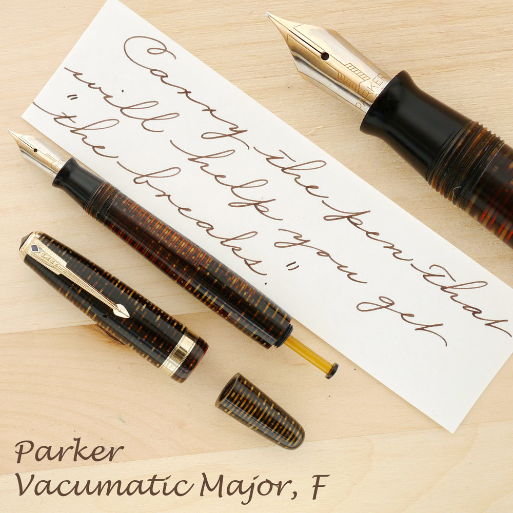 Parker Blue Diamond Vacumatic Major Golden Pearl,  F, with the cap and blind cap off