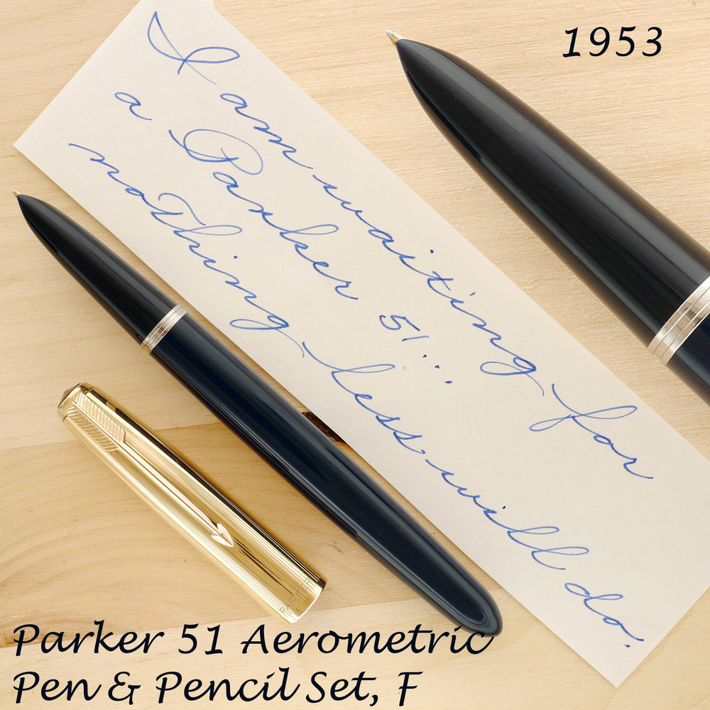 Parker 51 Aerometric Pen and Pencil Set, Midnight Blue, Fm uncapped and showing a close-up of the section