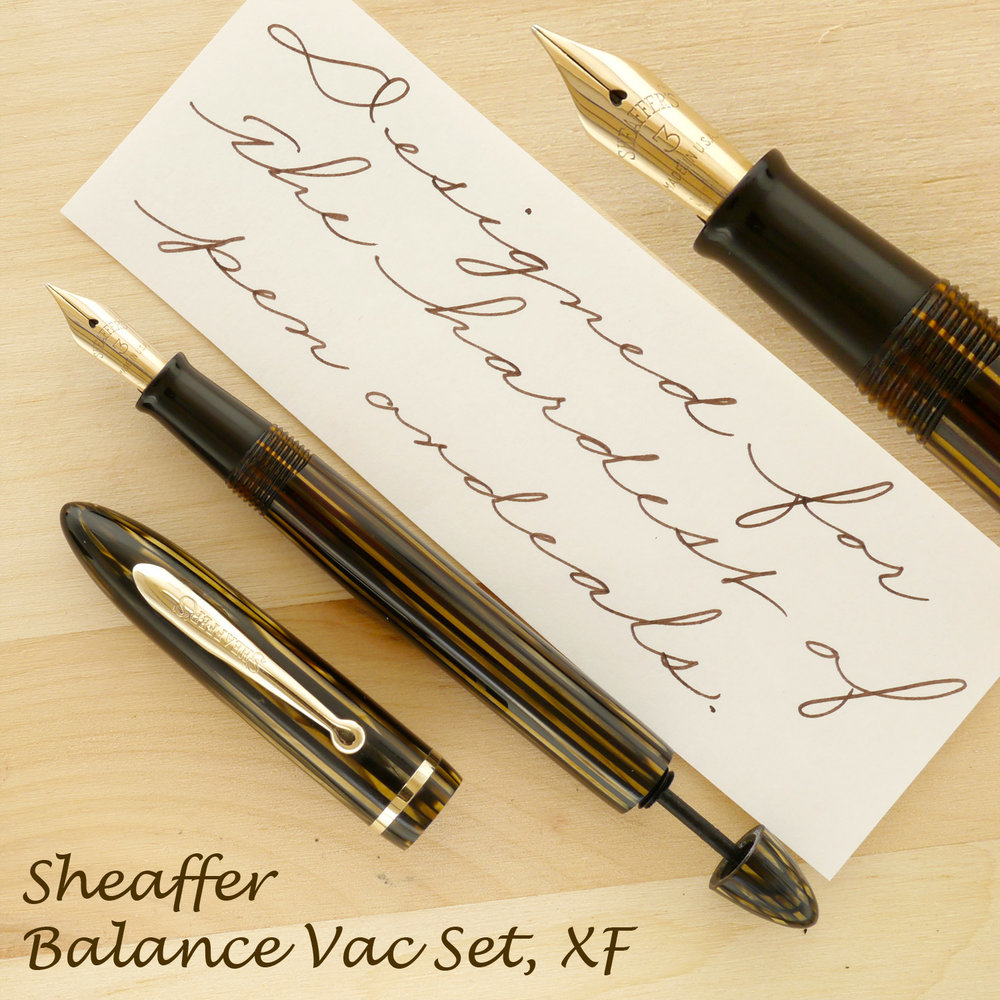 Sheaffer Balance Vac Golden Brown Pen & Pencil Set, XF, uncapped, with the plunger slightly extended.