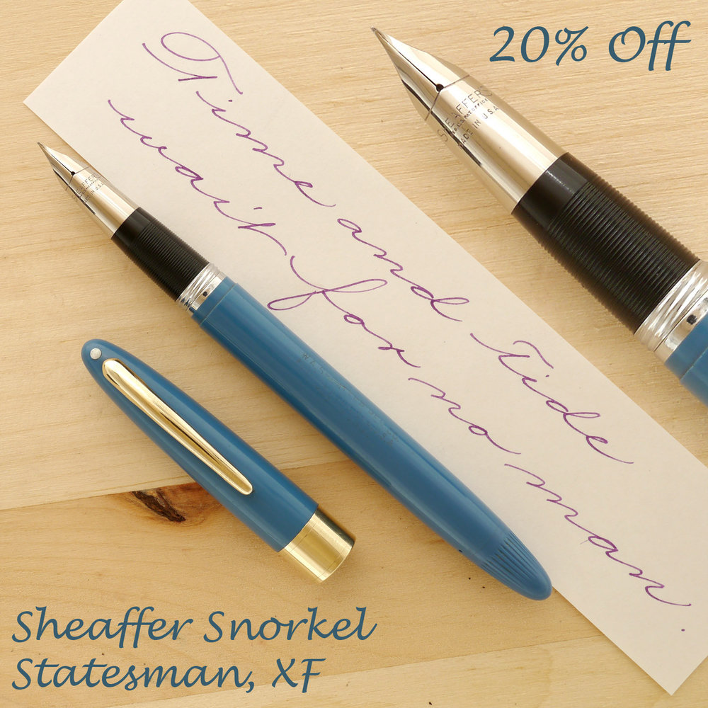 Sheaffer Snorkel Statesman Pastel Blue, XF, with the cap off