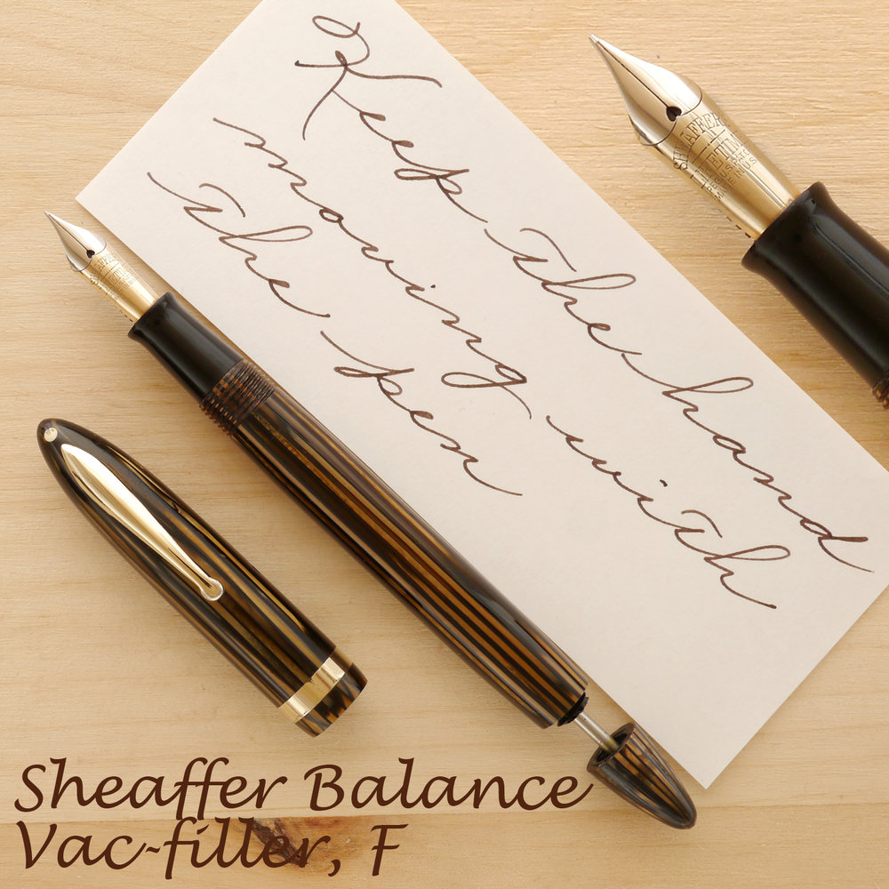 Sheaffer Lifetime Balance Vac, Golden Brown, F with the cap off and plunger rod partially extended