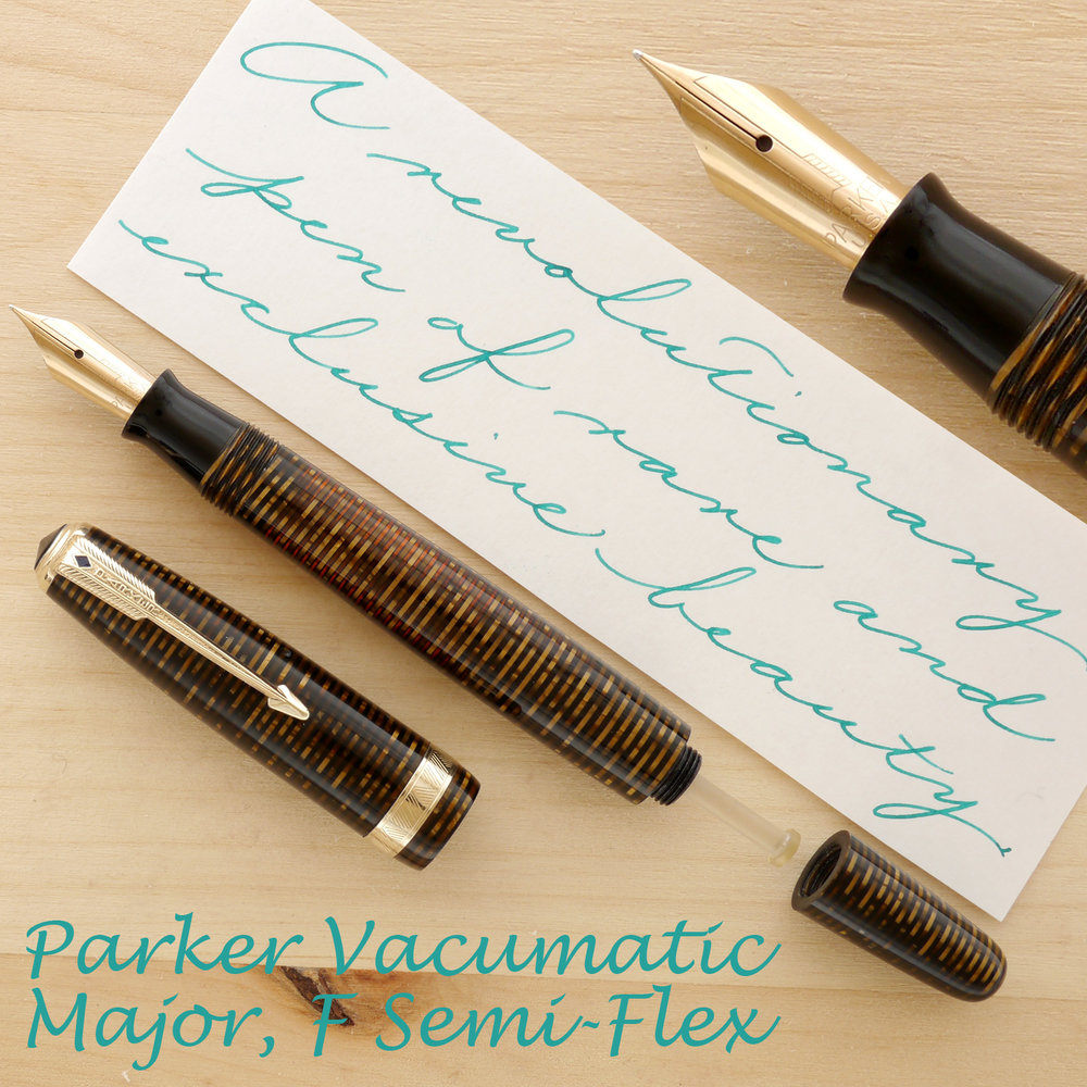 Parker Blue Diamond Vacumatic Major, F Semi-Flex, uncapped, showing the filling plunger
