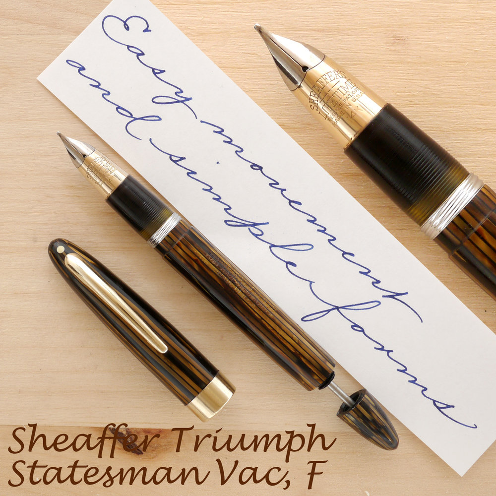 Sheaffer Triumph Statesman Vac, Golden Brown, F, uncapped, with the plunger partially extended
