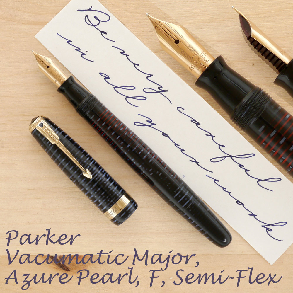 Parker Vacumatic Major, Azure Pearl, F Semi-Flex, uncapped