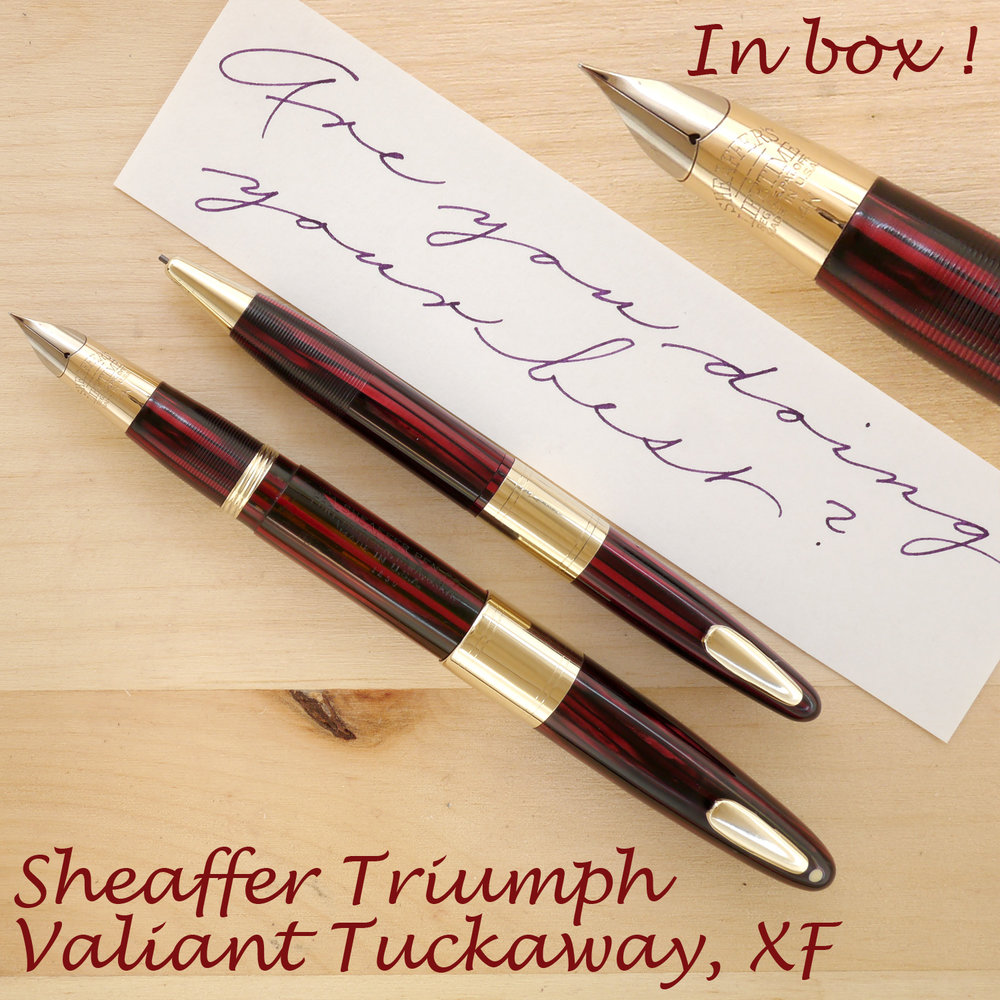 Sheaffer Triumph Valiant Tuckaway XF, Set in Box, Carmine, posted