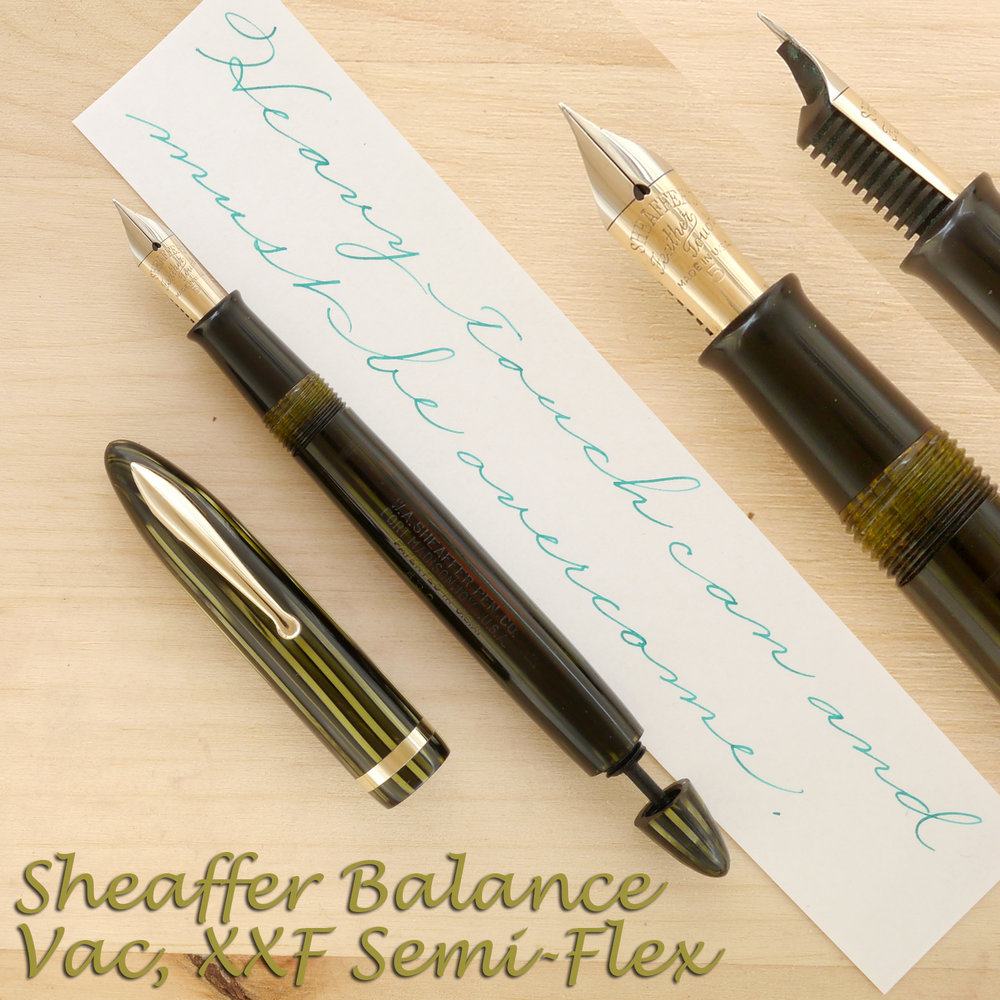 "Sheaffer Balance ""500"" Vac, Marine Green, XXF Semi-Flex, uncapped, with the plunger rod partially extended"