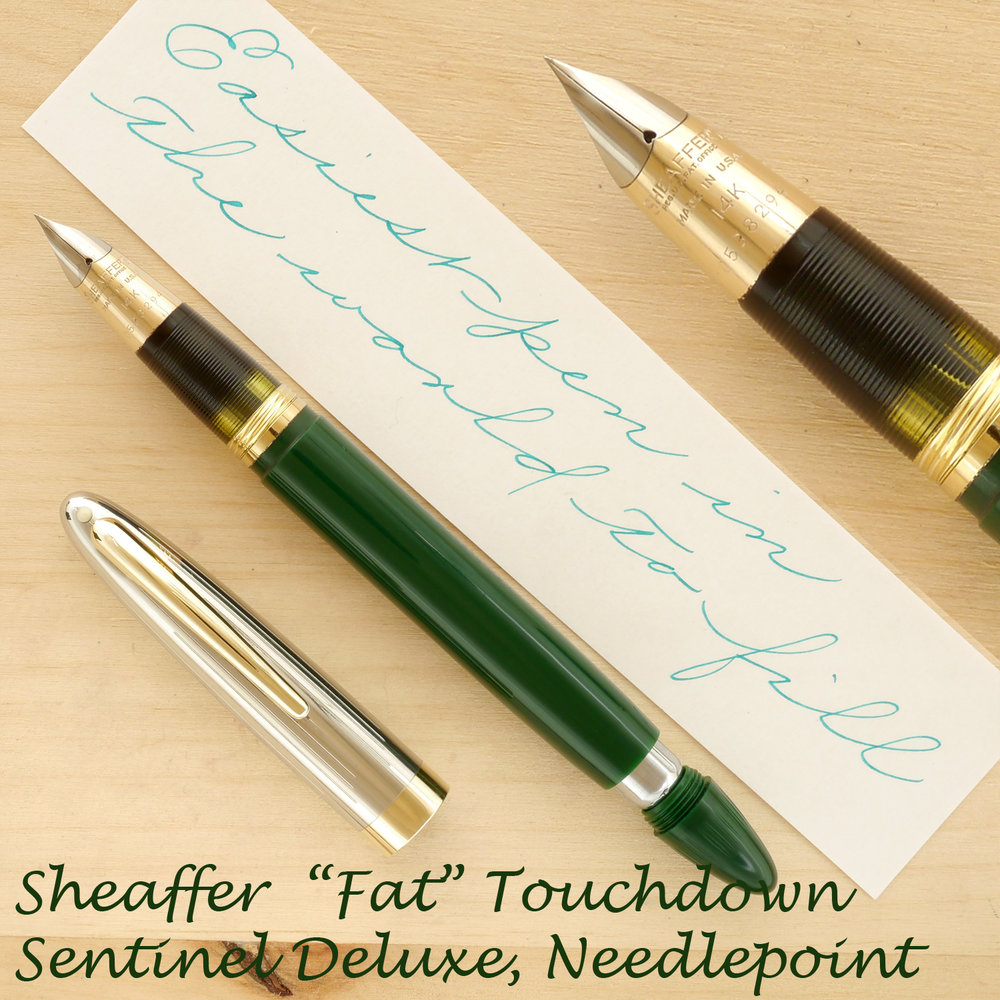 "Sheaffer ""Fat"" Touchdown Sentinel Deluxe, Needlepoint, uncapped, with the plunger partially extended"