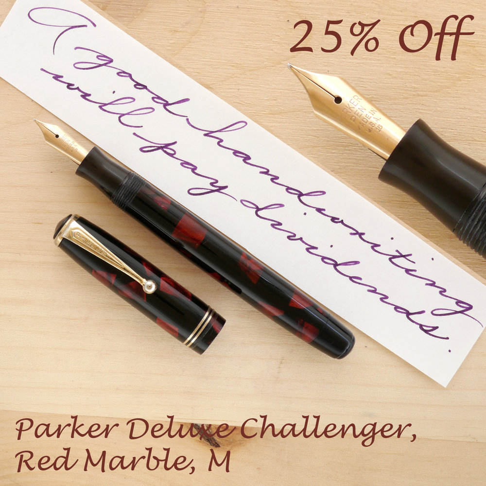 Parker Deluxe Challenger, Red Marble, M, uncapped