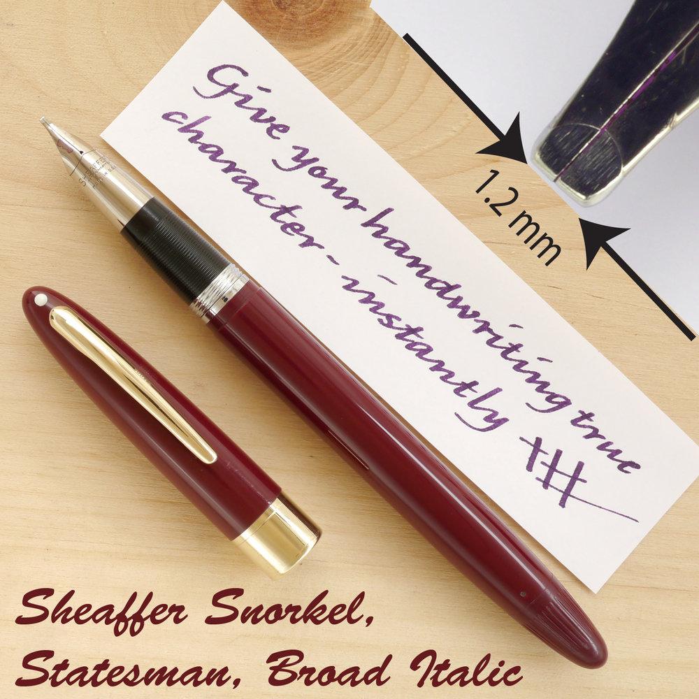 Sheaffer Snorkel Statesman, Broad Italic, uncapped
