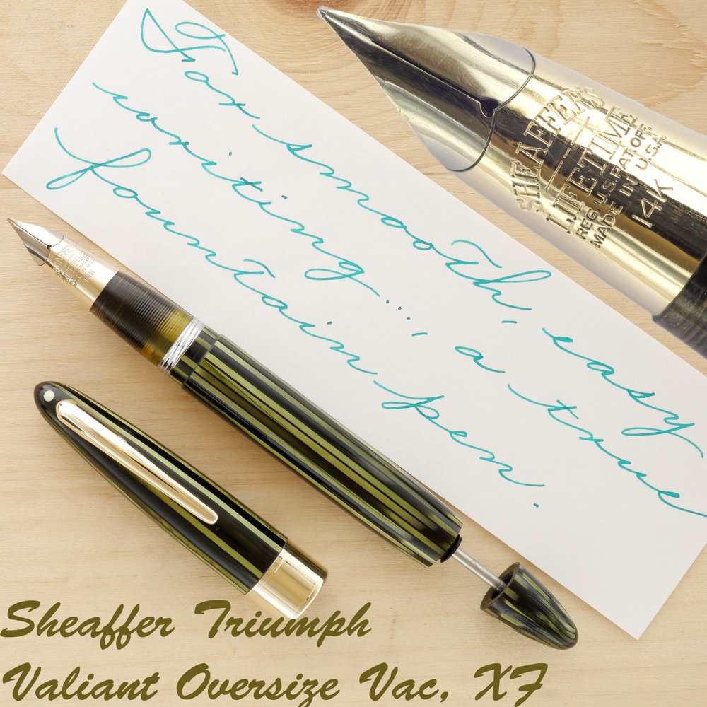 Sheaffer Triumph Valiant Vac Oversize, Marine Green, XF, uncapped with the plunger partially extended