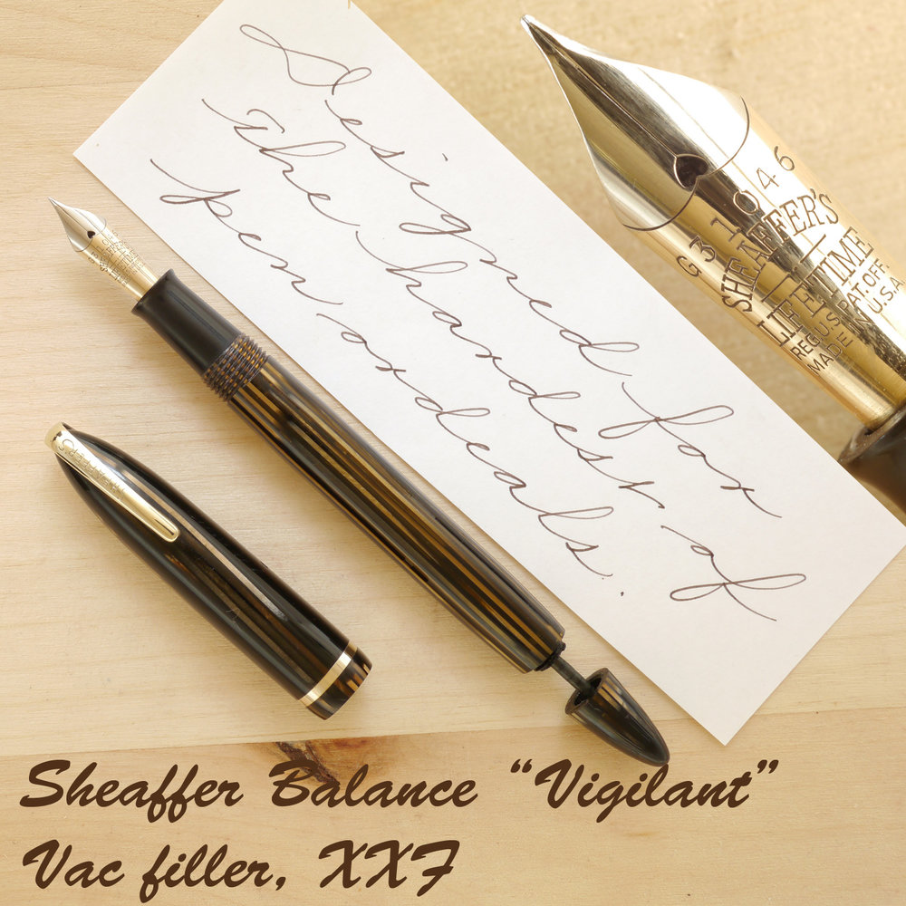 "Sheaffer Balance ""Vigilant"" Military Golden Brown, XXF, uncapped, with the plunger partially extended"