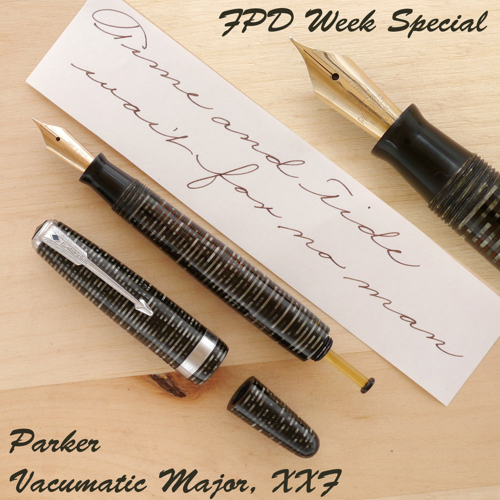 Parker Vacumatic Major, Gray Pearl, XXF, uncapped, with the blind cap removed