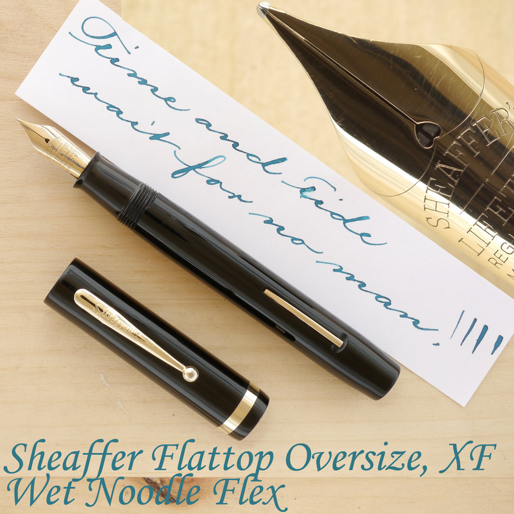 Sheaffer Flat-top Oversize, Black, XF Wet Noodle, uncapped