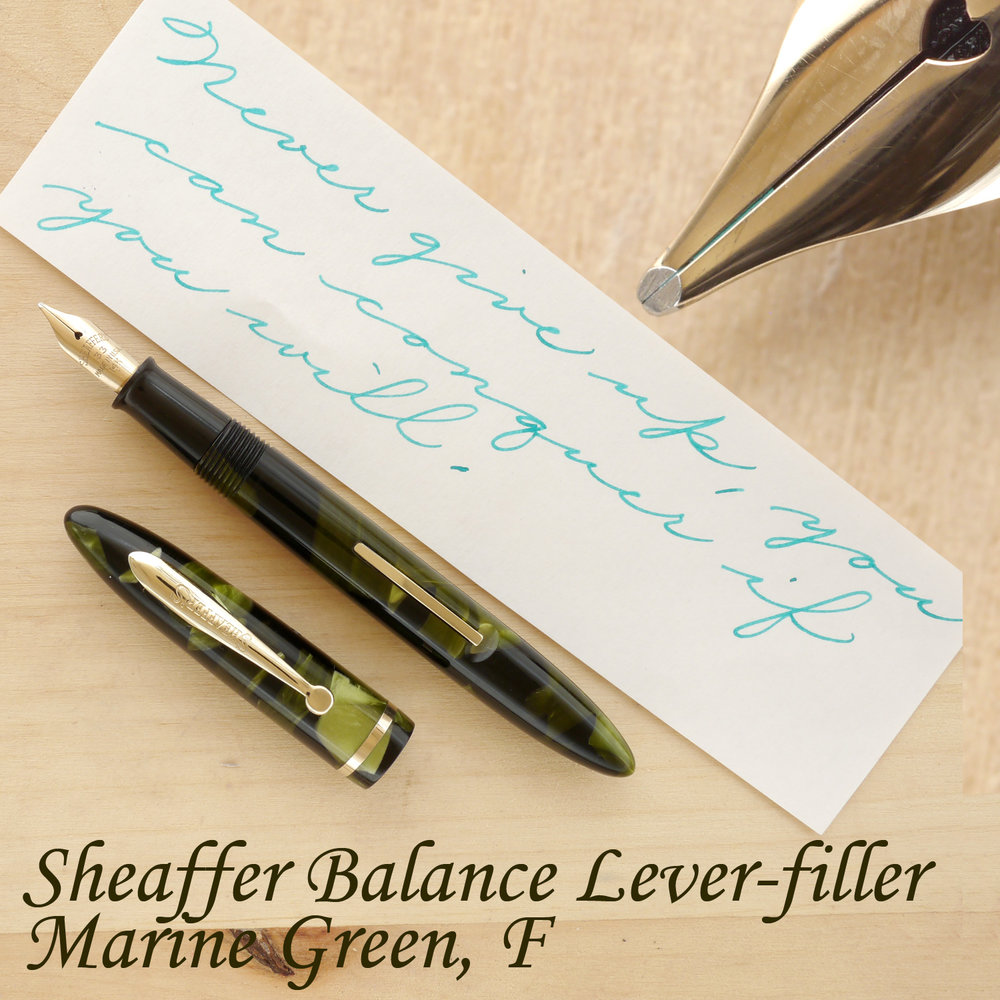 Sheaffer Balance in Marine Green, F, uncapped
