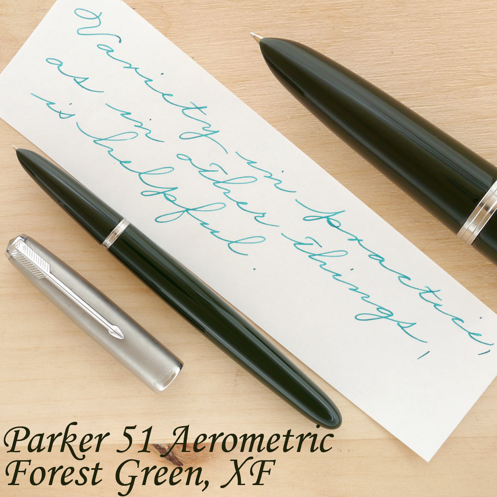 Parker 51 Aerometric Fountain Pen, Forest Green, XF, uncapped