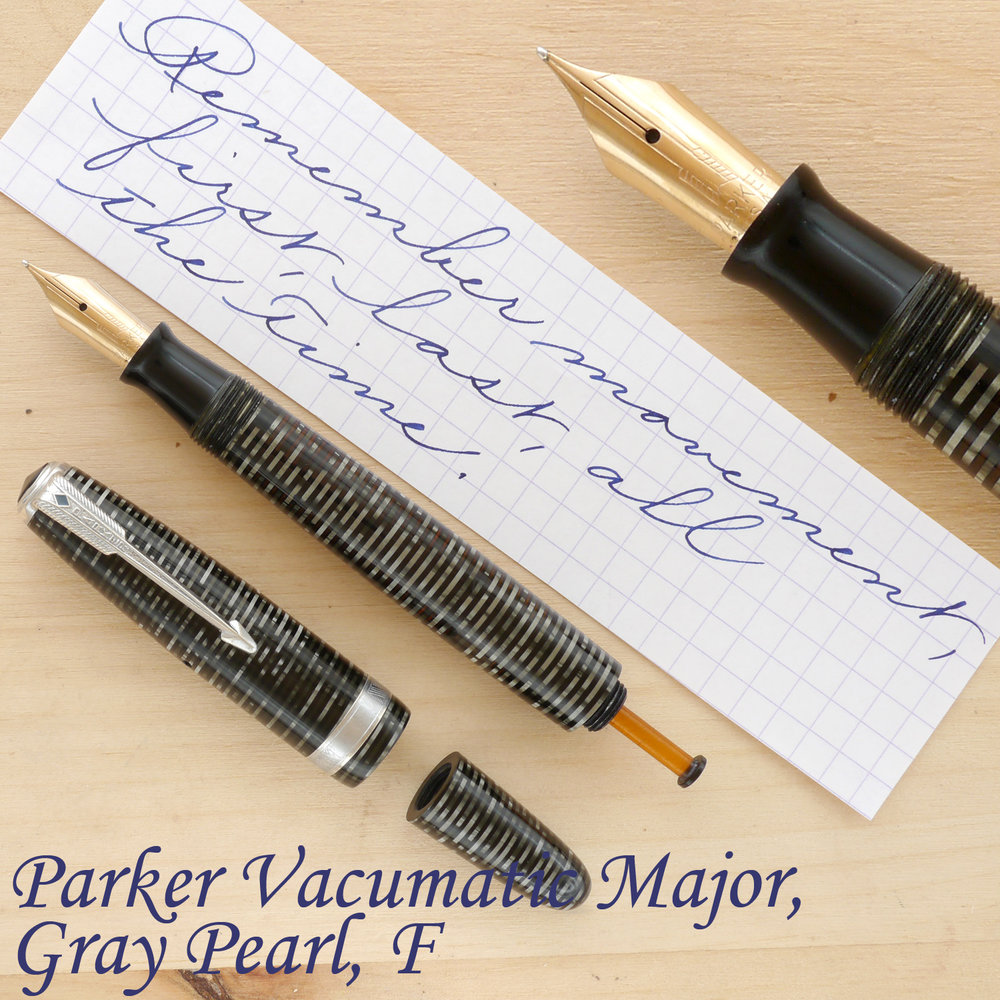 Parker Vacumatic Major, Silver Pearl, F, uncapped, with the blind cap removed