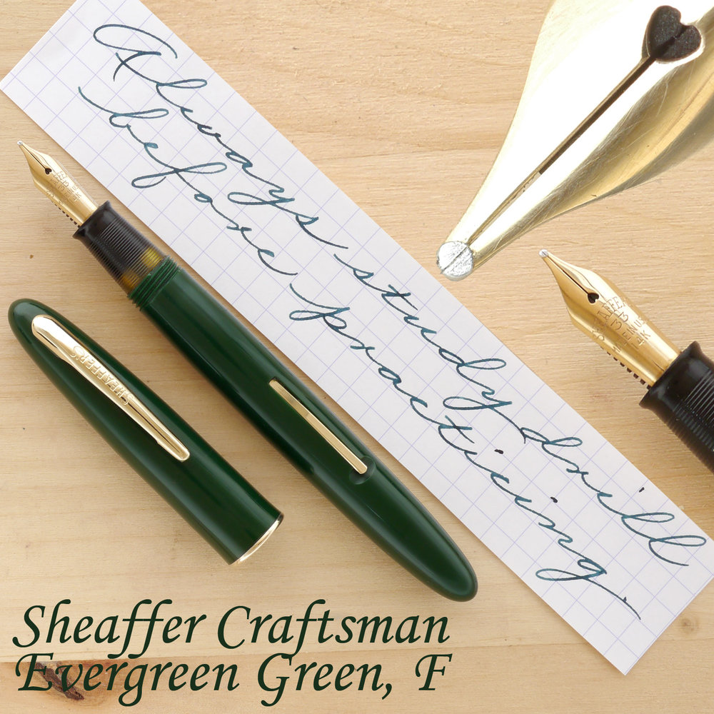 Sheaffer Craftsman Fountain Pen, Evergreen Green, F, uncapped