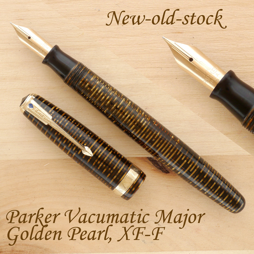 Parker Vacumatic Major Fountain Pen, Golden Pearl, F (NOS), uncapped