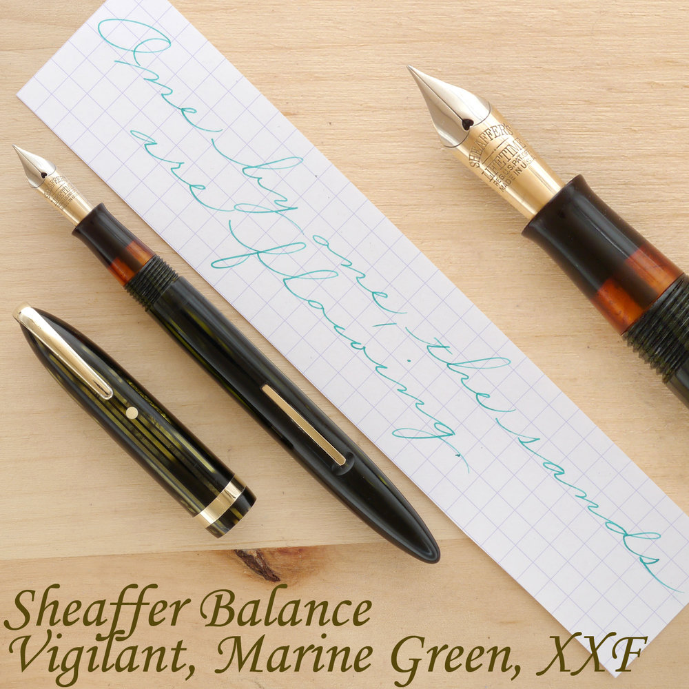 "Sheaffer Balance ""Vigilant"" Fountain Pen, Marine Green, XXF, uncapped"