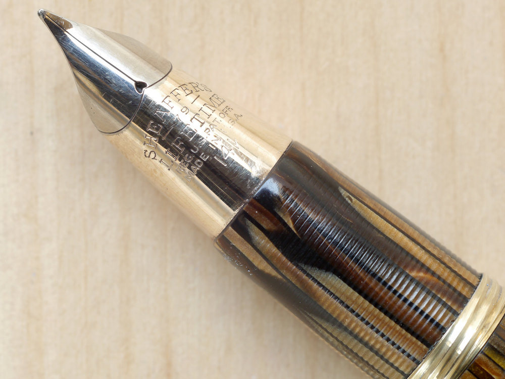 Sheaffer Triumph Crest Fountain Pen, Golden Brown, F, nib close-up