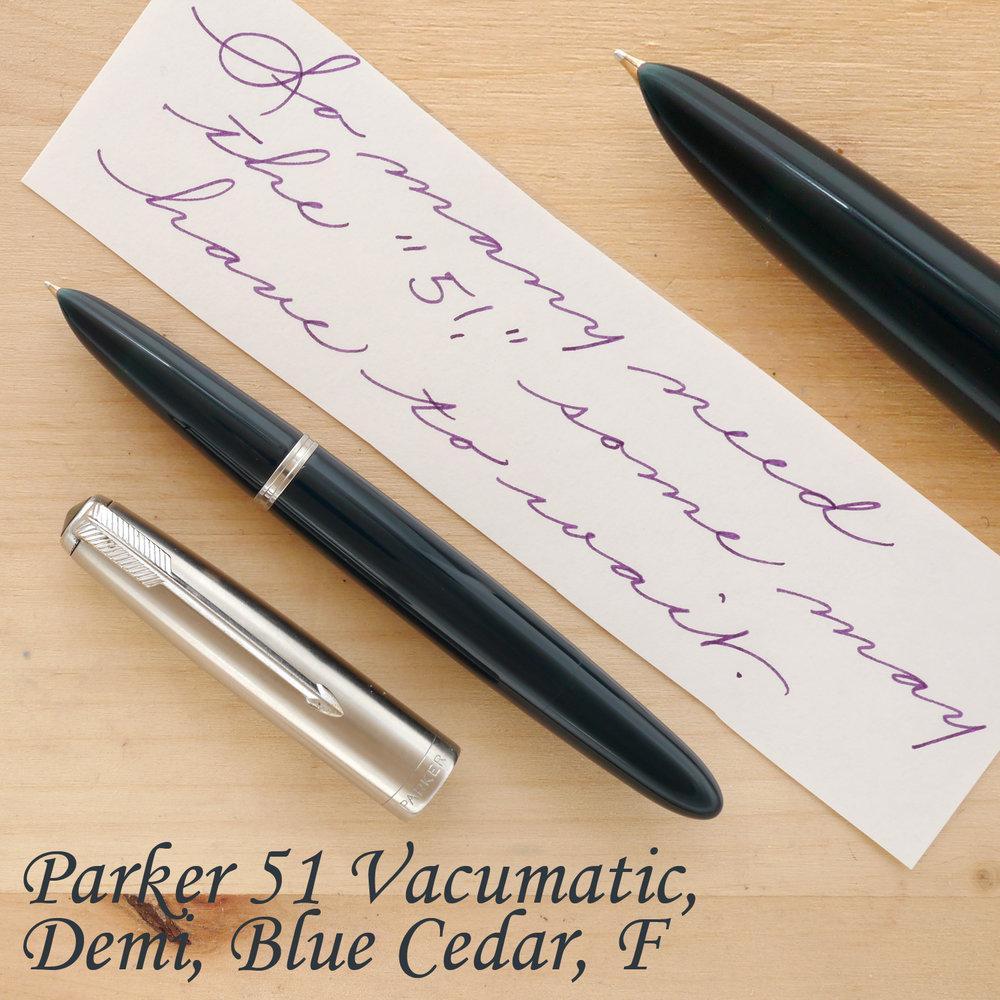 Parker 51 Vacumatic Demi Fountain Pen, Blue Cedar, F, unposted