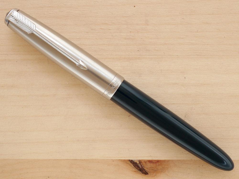 Parker 51 Vacumatic Demi Fountain Pen, Blue Cedar, F, capped