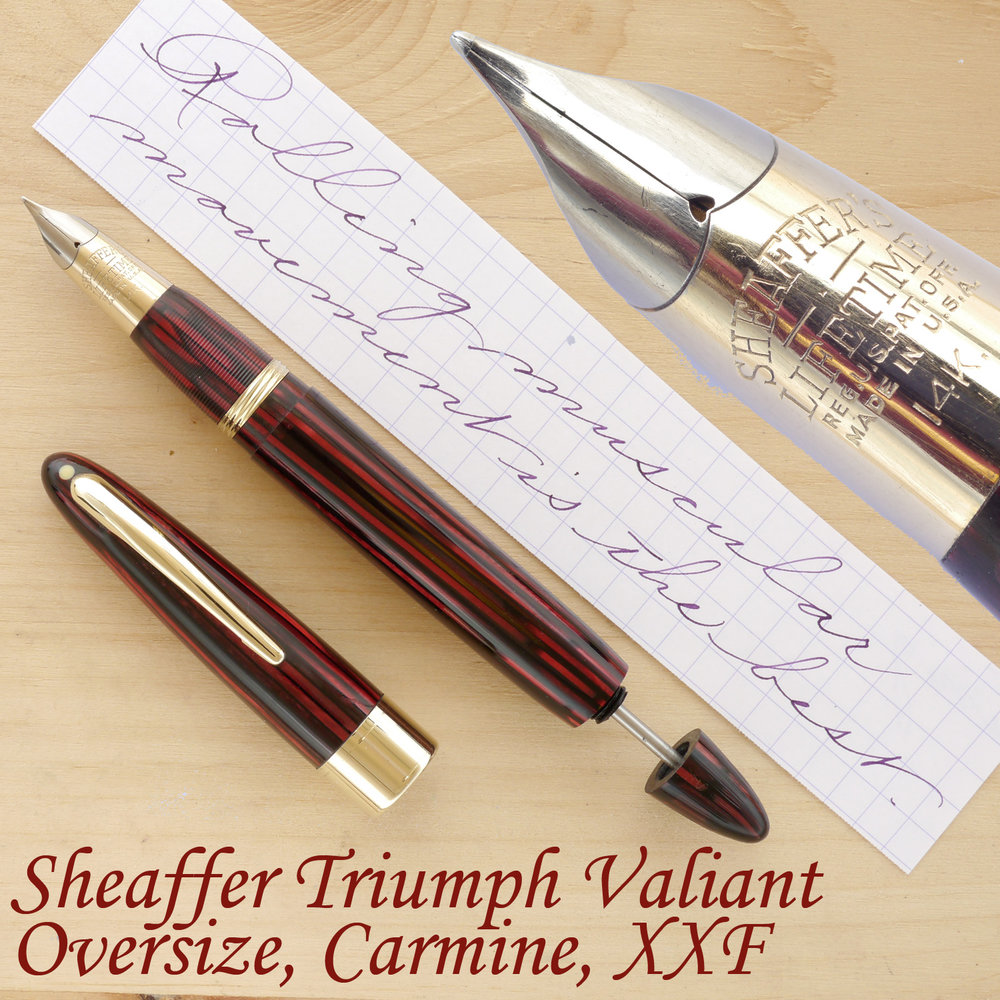 Sheaffer Triumph Valiant Oversize Fountain Pen, Carmine, XXF, uncapped, with the plunger partially extended