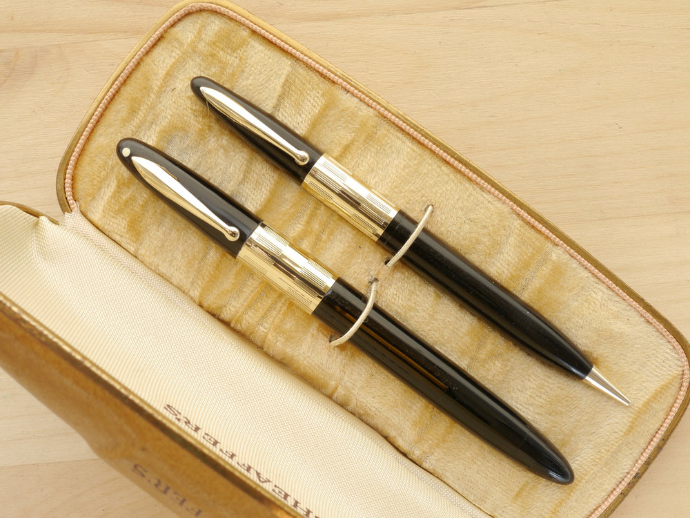 Sheaffer Triumph Vac Fountain Pen and Pencil Set, F, boxed