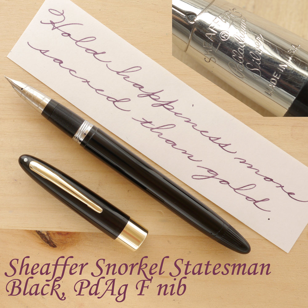 Sheaffer Snorkel Statesman, Black, F, uncapped