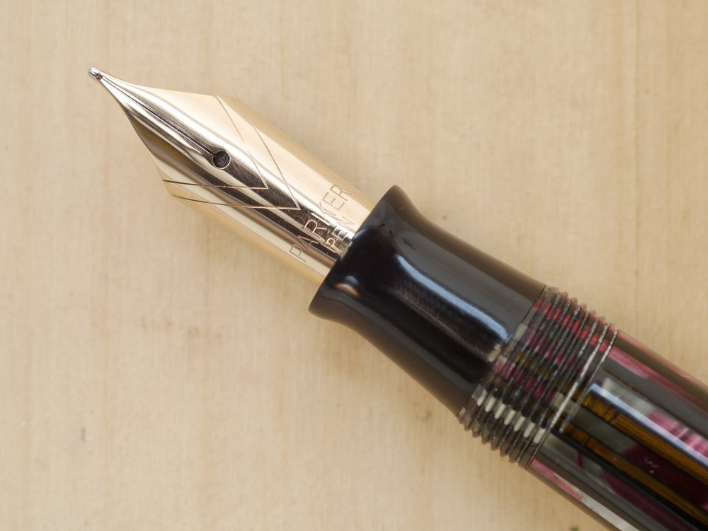 "Parker ""Striped"" Duofold Vacumatic Senior, Dusty Red, F, nib close-up"