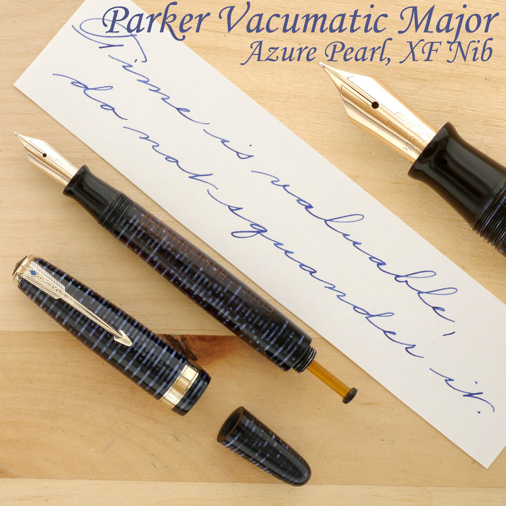 Parker Vacumatic Major Fountain Pen, Azure Pearl, XF, uncapped, with the blind cap removed