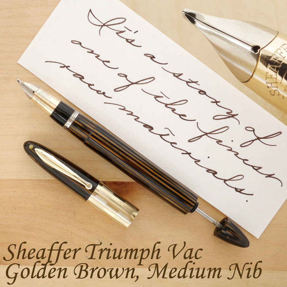 Sheaffer Triumph Vac Fountain Pen, Golden Brown, M, uncapped, with the plunger partially extended