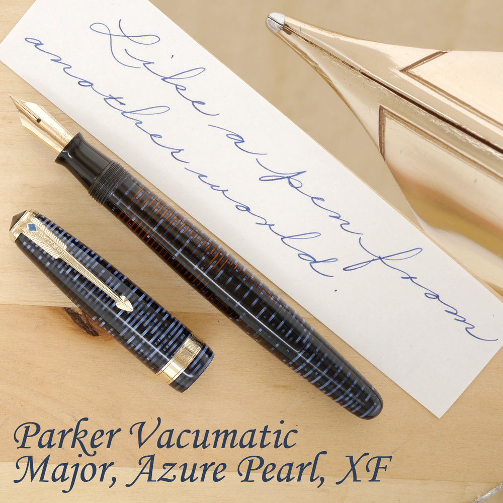 Parker Vacumatic Major Fountain Pen Azure Pearl, XF, uncapped