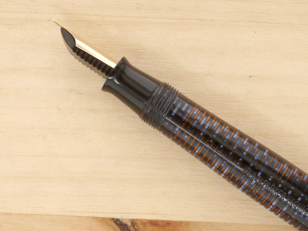 Parker Vacumatic Major Fountain Pen Azure Pearl, XF, nib profile, showing excellent tipping geometry and alignment