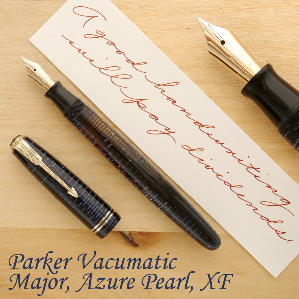 Parker Vacumatic Major Fountain Pen, Azure Pearl, XF, uncapped
