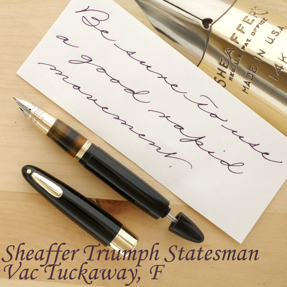 Sheaffer Triumph Statesman Tuckaway Fountain Pen, F, uncapped, with the plunger partially extended