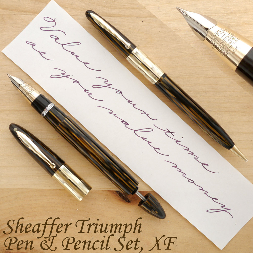 Sheaffer Triumph Vac Fountain Pen and Pencil Set, Golden Brown, XF, uncapped, with the plunger partially extended