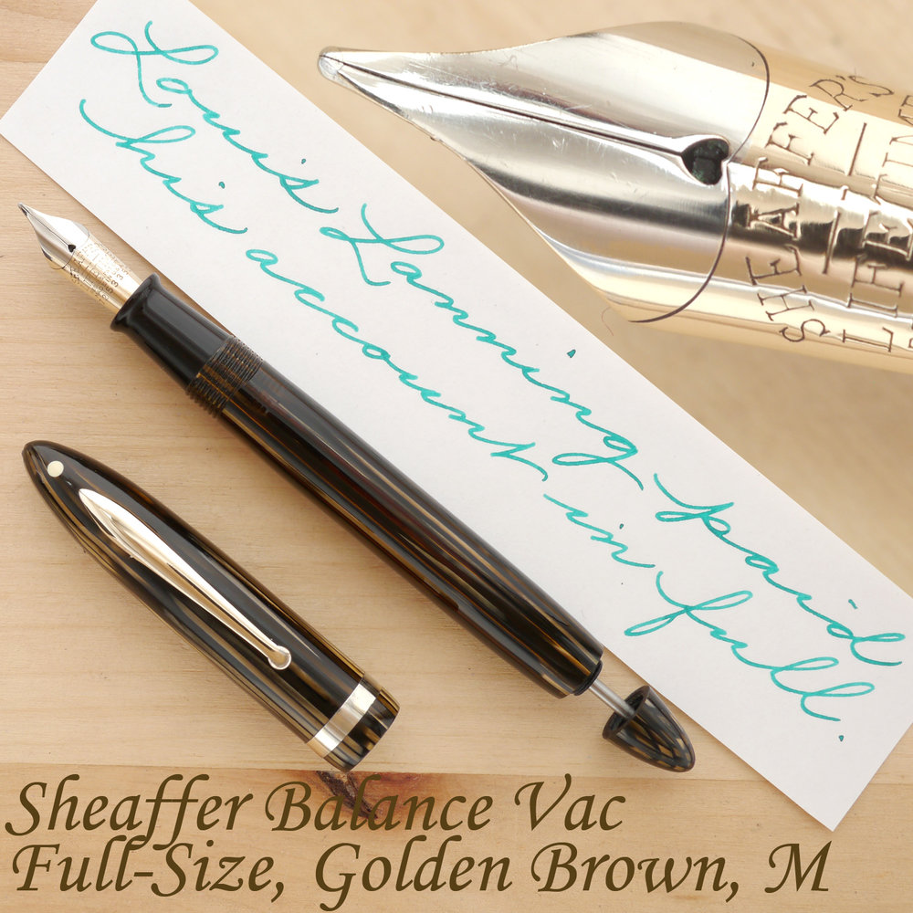 Sheaffer Balance Vac Full-Size Fountain Pen, Golden Brown, M, uncapped, with the plunger partially extended