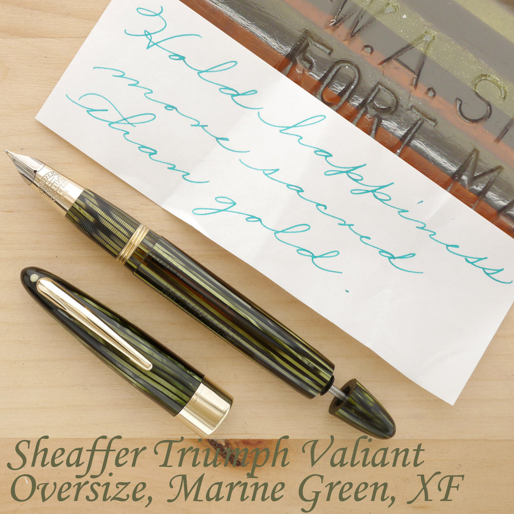 Sheaffer Triumph Valiant Vac Oversize Fountain Pen, Marine Green, XF, uncapped