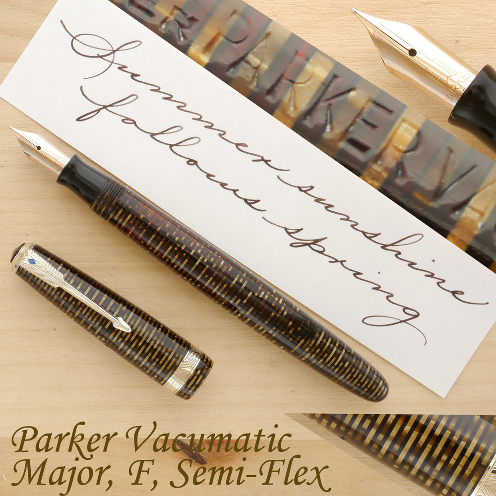 "Parker Vacumatic Major ""Long"" Fountain Pen, Golden Pearl, F, Semi-Flex, uncapped"