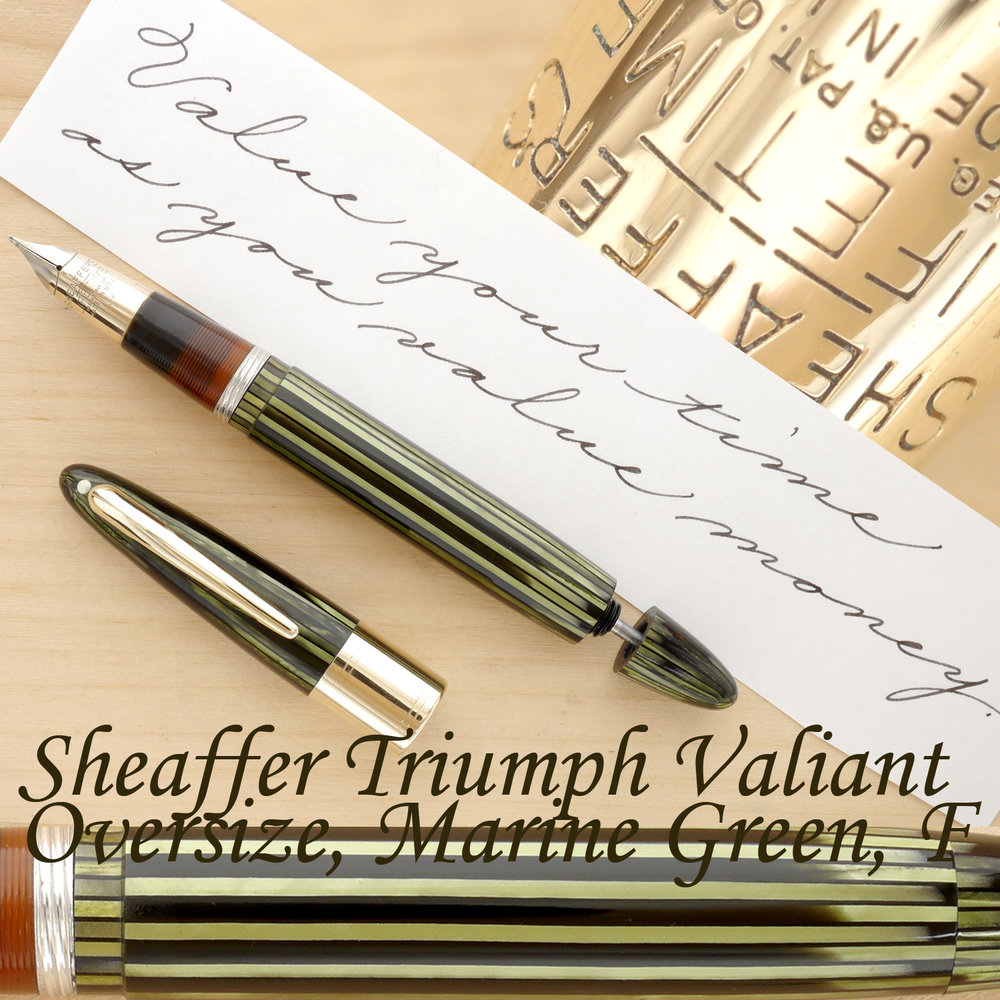 Sheaffer Triumph Valiant Oversize Fountain Pen, Marine Green, F, uncapped, with the plunger partially extended