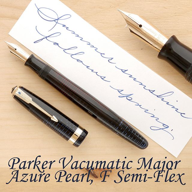 "I am often asked for advice regarding vintage fountain pens. One of the most frequently asked questions is what pen I recommend as a ""safe bet,"" a pen that can easily be considered a top-tier pen, yet one that sells for a lot less than a modern pen with comparable features and performance. Those of you who follow me on Instagram probably know how much I love Sheaffer pens, but, to be honest, it is the wartime Parker Vacumatic Major that makes the best first premium vintage pen for beginners and advanced collectors alike.  The Major is a larger pen in Parker's line-up, but it does appear somewhat smaller, compared to most modern luxury pens. Still, it has superb ergonomics, posts extremely well, and feels very comfortable, regardless of your grip. The material is gorgeous, particularly in Azure! The barrel has very nice transparency, which allows you to gauge your remaining ink level with ease. Speaking of ink, the Vacumatic holds a lot of it, up to 1.7 ml (with some variation across models), and comes equipped with one of the most ingenious and reliable filling mechanisms ever made.  The wartime  Vacumatic really excels as a writing instrument. It comes with a fantastic 14k gold nib, one that writes at the lightest touch, and when pressed harder, rewards you with a hint of line variation, instantly adding character to your handwriting. It's precise and yet it has excellent performance latitude, laying down a satisfying line in virtually all directions, with luscious long curves and steadfast rapid upstrokes. A fantastic tool with which to take your handwriting to the next level.  #more on my website. Thanks!  #parker #vacumatic #vintagepen #fountainpen #penmanship"