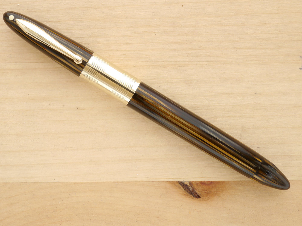 Sheaffer Triumph Vac Fountain Pen, Golden Brown, XF, posted