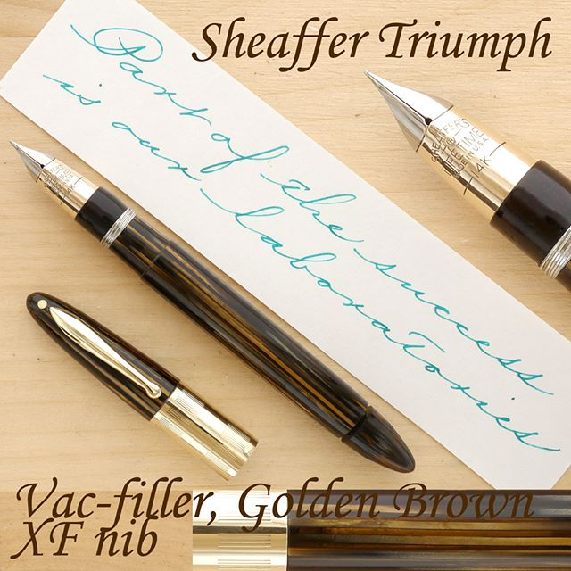 "My apologies for not posting as often this past week, as I've been dealing with some health problems. I know some of you have been patiently waiting for your vintage dream pens, and I really appreciate your support and interest in my pens. I will be posting on my regular daily schedule as of today.  The pen I am offering today is perhaps the most important fountain pen of the 1940s. Yes, Parker, Wahl-Eversharp, and Waterman all made beautiful pens in that era, but Sheaffer's Triumph was a pivotal accomplishment in the history of the fountain pen.  A product of several years of vigorous R&D, the Triumph was an utterly modern fountain pen, ""far ahead of anything in the field."" The Triumph accomplished what had seemed an intractable pen design problem before, namely, a consistent, silky smooth flow of ink, under various conditions, including temperature, barometric pressure, ink, paper, and one's writing technique. The Triumph ink delivery system excels at buffering the ever expanding and contracting volume of ink inside the reservoir (here, directly inside the barrel). The task is accomplished by an oversize ebonite feed with a huge surface area of its numerous fins and, crucially, a large channel running inside it. Sheaffer took advantage of its advanced R&D and testing laboratories to perfect the Triumph, including rigorous testing, by man and machine. The quote I wrote comes from a 1942 statement that accompanied the launch of the Triumph vac filler.  The pen I'm offering today is a great specimen of the Triumph, perhaps its most iconic model. Built from the gorgeous striated Golden Brown celluloid, with a transparent barrel, adorned with impeccable gold-filled trim, the pen is truly beautiful. It's in excellent condition, too, with only very minor surface wear, difficult to see with the naked eye. Functionally, the pen is as close to its factory condition as possible, with an efficient filling mechanism (up to 1.8 ml of ink using the two-stroke method), and superb ergonomics.  More details on my website. Thanks! #sheaffer #vintagepen #fountainpen #penmanship"