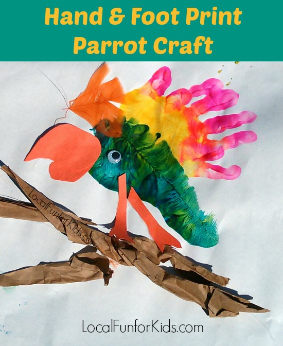 Parrot Hand Foot Print Craft Local Fun For Kids