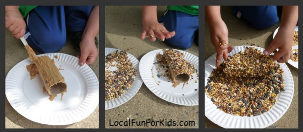 This Morning We Made An Easy Bird Feeder From A Recycled Toilet Paper Tube Peanut Butter And Bird Seed