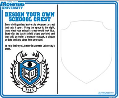 Monsters University Free Kids Activity Sheets Monstersu