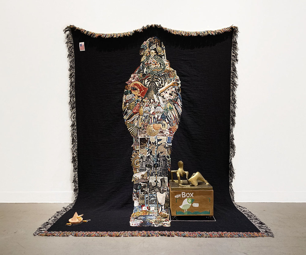 eBay Sarcophagus, or, I love you this much $14,911.18  with  Henry Moore Ossuary  | woven digital tapestry, papier mâché, gouache, acrylic paint, clay | 24INx60INx80IN